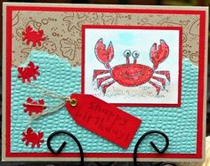 Stampin Up Crab & Company with bubbles embossing folder and sandy shells wheel