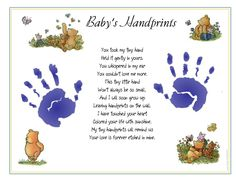 Classic Pooh printables | Classic Winnie the Pooh ~ BABY 1st Handprints Poem Print