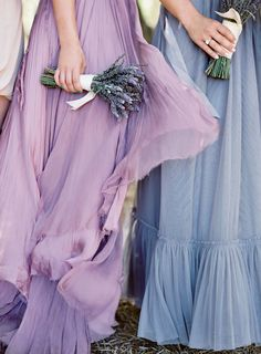 Lilac and lavender bridesmaids dresses.   Photography: Jose Villa Photography