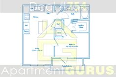 Beds - 1 Baths -1  Sq. Ft. 638  Starting Price $1150
