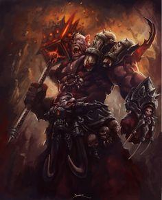 Orc Chieftain by ShoZ-Art on DeviantArt Fantasy Art Warrior, Sci Fi Fantasy, Fantasy World, Dark Fantasy, Fantasy Races, Warcraft Art, World Of Warcraft, Warcraft Legion, Warcraft Characters