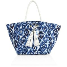 Melissa Odabash Marrakesh Large Beach Tote (€210) ❤ liked on Polyvore featuring bags, handbags, tote bags, ikat, totes, zippered beach bag, blue totes, tote purses, zip tote and zippered beach tote