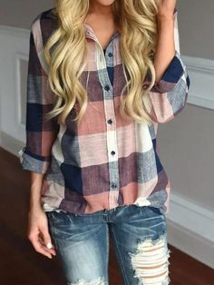 Fashion womens tops and blouses Female Casual Matching Color Long Sleeve Button Loose Plaid Shirt Top blusas mujer de moda 2018 Fashion Mode, Look Fashion, Womens Fashion, Plaid Fashion, Ladies Fashion, Plaid Shirt Outfits, Casual Outfits, Casual Shirt, Casual Jeans