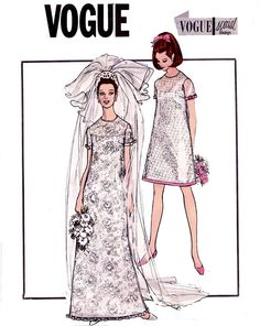 Wedding Dress Pattern 60s Vintage A Line
