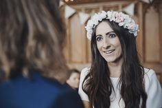 Bridal flower crown for Hannah and Gregg's modern folk wedding at an English manor house with an elegant two piece wedding dress // Oxi Photography // The Natural Wedding Company English Country Manor, English Manor Houses, Two Piece Wedding Dress, Wedding Dresses, Wedding Company, Flower Crowns, Pagan, Diy Wedding, Folk