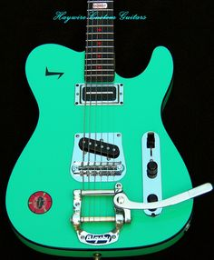 A Surf Green Haywire Custom Guitars Tele with Lollar Pickups and a Bigsby…