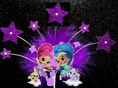Shimmer and Shine Cake Decoration Feather and Star Birthday party cake topper