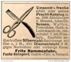 Original-Werbung/Inserat/ Anzeige 1902 : SCHEREN / RASIERMESSER HAMMESFAHR FOCHE-SOLINGEN ca 40 X 50 mm