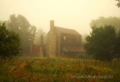 """""""Mist Memories"""" An old Warren County homestead wakes up wrapped in a blanket of fog that suffocates the morning sun as three chimneys made stone and brick stand resolute against the ghostly haze. (2014)  For more photos please check out my page at Scott Garlock Photography https://www.facebook.com/scottgarlockabandoned and if you like what you see, I sure would appreciate a good old fashioned """"Page Like"""" Thank you"""