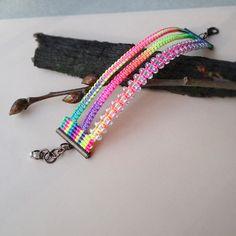 Micro macrame friendship bracelet  Neon Rainbow by MartaJewelry, $18.00