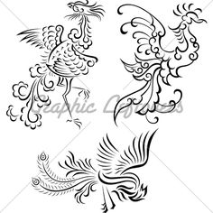 drawing of the phoenix bird | Bird Tattoo Vector Illustration Drawing Phoenix Photos