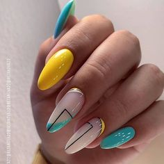 Cute Summer Nail Designs, Cute Summer Nails, Beautiful Nail Designs, Nail Summer, Spring Nails, Easy Nail Designs, Almond Nails Designs Summer, Summer Nails Almond, Cute Almond Nails