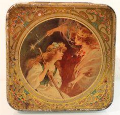 vintage Mazawattee Tea 'Cinderella' tea tin ... artwork of Cinderella & her Fairy Godmother on lid, early 20th century, UK