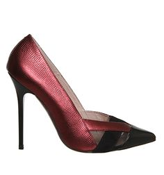 Office Sophistication Cut Out Detail Point Metallic Burgundy Black Leather - High Heels