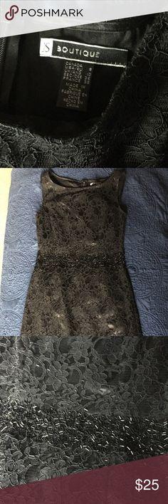 Little black dress Boutique Embellished waist lace sheath black dress JS Boutique Dresses Mini