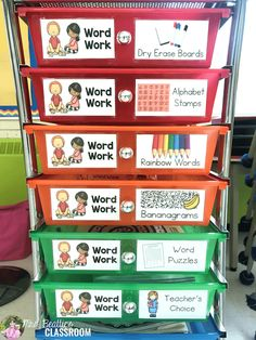Coming up with ideas for great word work activities that meet the needs of all your students can be a challenge. Being able to differentiate. Centers First Grade, First Grade Words, Second Grade, Grade 2, Daily 5 Kindergarten, Kindergarten Centers, Kindergarten Worksheets, Word Work Activities, Spelling Activities
