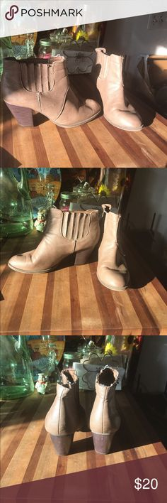 Bongo Ankle Boots These boots look great the leggings or pants. I love these but I just don't wear them all that often. There is a small mark on one of them which is included in the photo. BONGO Shoes Ankle Boots & Booties