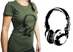 Oberteile - Kopfhörer, Biobaumwolle T-Shirt Frauen - ein Designerstück von cherry_bomb bei DaWanda