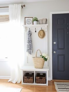 Modern Rustic Living Room Makeover with a DIY hall tree for the entryway. Mudroom storage idea.