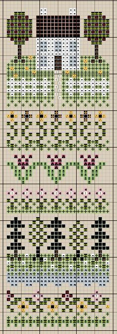 sampler   (...cr....by just using the top house on an ornament it will be about 28x38....might be able to use the row of flowers under the house.....cute)
