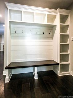 Mudroom Ideas - built in storage in mudroom, lockers in mudroom with shiplap and. Mudroom Ideas - built in storage in mudroom, lockers in mudroom with shiplap and custom lockers with bench in mudroom decor Home Renovation, Home Remodeling, Kitchen Remodeling, Mudroom Laundry Room, Mud Room Lockers, Closet To Mudroom, Entryway Closet, Entry Lockers, Mudroom Cubbies