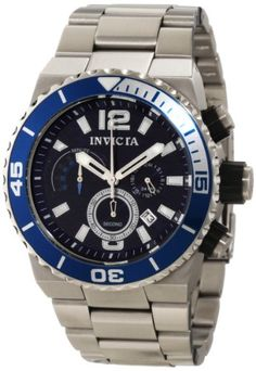 Men's Wrist Watches - Invicta Mens 1342 Pro Diver Chronograph Navy Textured Dial Stainless Steel Watch *** Be sure to check out this awesome product.