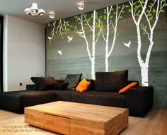 Wall Decal Art Wall Sticker Tree Decal - forest tree Wall decal. $85.00, via Etsy.