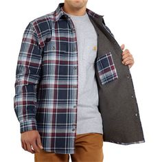 Carhartt Youngstown Flannel Shirt Jacket - Thermal Lining (For Men) in Deep Blue Flannel Jacket, Shirt Jacket, Flannel Shirts, Men Shirt, Carhartt T Shirt, College T Shirts, Army Shirts, Jeans For Sale, Jacket Style
