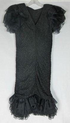 Tadashi Festive Formal Black Ruffle ChiffonTier Sleeve & Hem Dress, Size 10 EUC! #Tadashi #Sheath #FestiveFormal