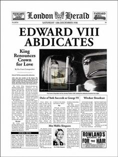 On this day December 1935 Edward VIII, after ruling for less than a year, became the first English monarch to voluntarily abdicate the throne to marry American divorcee Wallis Simpson. He was succeeded by his brother, who became George VI Wallis Simpson, Newspaper Front Pages, Vintage Newspaper, British History, American History, Modern History, Native American, Eduardo Viii, English Monarchs