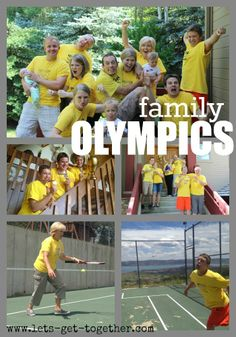 Family Olympics from Let's Get Together - how to start and run this summer tradition. Includes fun list of events that would be great for any olympics party. Family Reunion Games, Family Games, Family Activities, Family Reunions, Family Family, Family Events, Group Games, Kids Olympics, Summer Olympics
