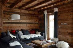 Salon bois et canapé gris laine