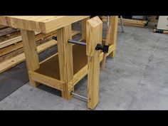 Next up for our Roubo-inspired workbench is a heavy duty leg vise using a single an inexpensive vise screw, and a linear bearing and shaft. Workbench Legs, Building A Workbench, Woodworking Workbench, Woodworking Projects Plans, Woodworking Shop, Craftsman Workbench, Garage Workbench, Popular Woodworking, Must Have Woodworking Tools