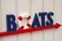 Life Boat Sign Beach House Decor Red White.