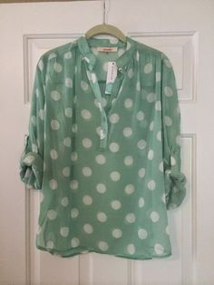 Stitch Fix June 2014  Pomelo Missy Polka Dot Tab-Sleeve Blouse Green Jeans, Stitch Fix Stylist, Clothing Items, Polka Dot Top, Style Me, Fashion Looks, Cute Outfits, Style Inspiration, Blouse