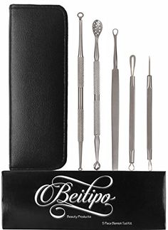 Comedone Extractor Acne Removal Tool Kit 5 Piece Set in Choice of Black or Silver Case Effective for Treatment of Blackhead and Whitehead ** Check this awesome product by going to the link at the image.