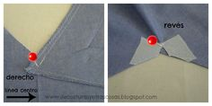 reforzar-esquinas-escote-pico Sewing Basics, Sewing Hacks, Sewing Tutorials, Tutorial Sewing, Sewing Clothes, Diy Clothes, Dress Patterns, Sewing Patterns, Sewing Collars