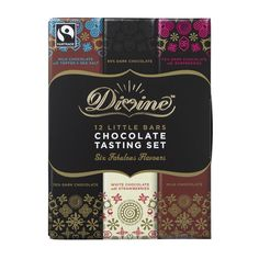 The Divine Taster Set contains 12 bars of luxurious Fairtrade certified chocolate from Divine in six flavours. The set includes smooth milks rich dark and creamy white chocolate flavoured bars and the box opens like a book offering tasting notes and Divine Chocolate, Organic Chocolate, Chocolate Flavors, White Chocolate, Chocolate Bars, Strawberry Crisp, Strawberry Milk, Dried Bananas