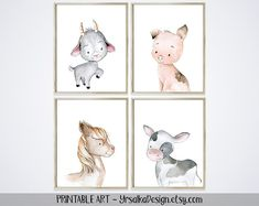 Farm Nursery Wall Decor for Kids Room Baby Animals Art Prints Set 4 Baby Cow Goat Pig Horse Portrait Farmhouse Modern Neutral Boy Nursery