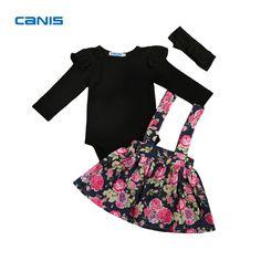 79d58292d771 Flower Girl Romper Infant Baby Tops Tutu Skirt Kids Outfit Set Toddler Children  Girls Floral Skirts Solid  font  b Yop  b   font  Clothing Set