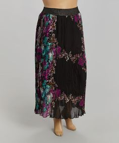 Love this Black & Turquoise Floral Maxi Skirt - Plus by Meetu Magic on #zulily! #zulilyfinds