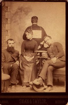 "tuesday-johnson: ""ca. 1885, [cabinet card, group portrait of four people, one gentleman faces away from the camera and wears a sign that reads ""Gone to Dinner.""], Swan & Taylor """