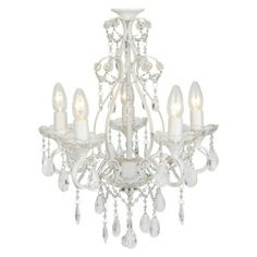 Shamley 5 Arm Chandelier - Add elegance and romance to a room with our ornate, vintage-inspired Shamley compact chandelier, finished in white and decorated with sparkly crystal droplets and strings of clear beads. - Pendant Lighting