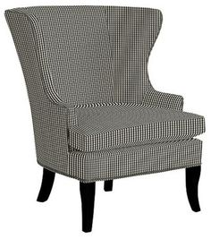 Thurston Wing Chair With Pewter Nailheads, Small Check Black   Traditional    Armchairs   Ballard