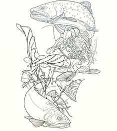 can't wait to add these to your long, long leg Friday Tattoo Sketches, Art Sketches, Salmon Tattoo, Animal Line Drawings, Fox Tattoo Design, Tattoo Stencils, Neo Traditional, Stippling, Wildlife Art