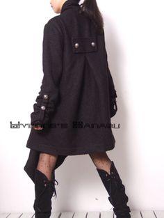 Lange Mäntel - Black Wool Long Sleeve Fashion Winter Trench Coat - ein Designerstück von yystudio bei DaWanda
