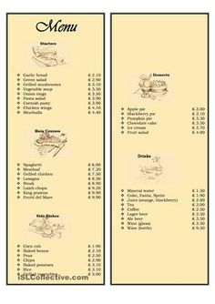 A full double sided Menu card with a set of usefull expressions (ordering food in a restaurant) with a task to role play a real-life restaurant situation. Hope you´ll enjoy it!  - ESL worksheets