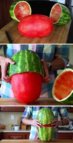 Whoa!! How to skin a watermelon, perhaps the most epic summer party trick ever! | Mark Rober