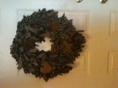 My rag wreath! I used to use this as a border along my living room and dining room, decided at our new place not to put it up, but now I can make wreaths out of my already created projects:)