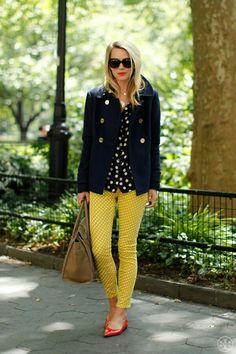 Yellow polka-dot pants + black polka-dot top + blazer